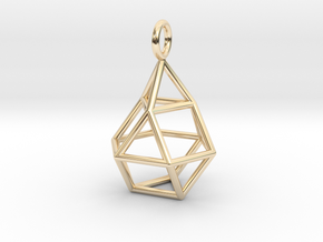 Pendant_Cuboctahedron-Droplet in 14k Gold Plated Brass