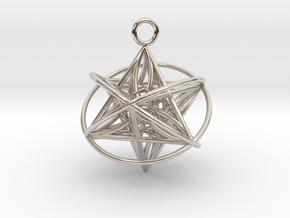 Pendant_Orbital-Merkaba in Rhodium Plated Brass