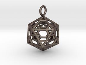 Pendant_Hexagonal-Icosahedron in Polished Bronzed Silver Steel