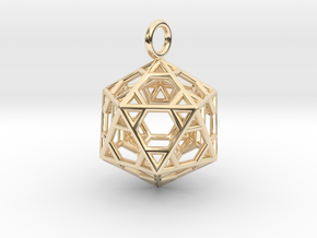 Pendant_Hexagonal-Icosahedron in 14k Gold Plated Brass