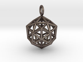 Pendant_ Cuboctahedron-Icosahedron in Polished Bronzed Silver Steel