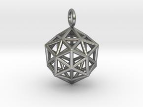 Pendant_ Cuboctahedron-Icosahedron in Natural Silver