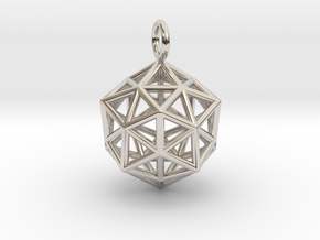 Pendant_ Cuboctahedron-Icosahedron in Rhodium Plated Brass