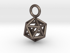Pendant_Icosahedron-Small in Polished Bronzed Silver Steel