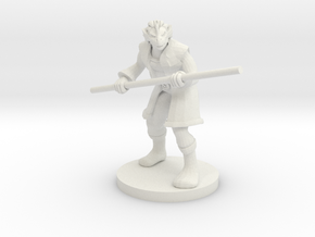 Dragonborn male Monk with Staff in White Natural Versatile Plastic