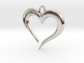 Heart to Heart Pendant V2.0 in Rhodium Plated Brass