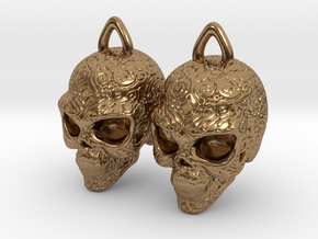 Day of the Dead Earrings  2.5cm in Natural Brass
