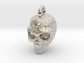 Day of the Dead/ Halloween Skull Pendant 2.6cm in Rhodium Plated Brass