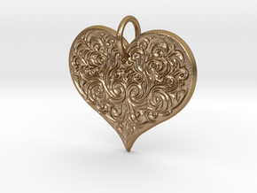 Filigree Engraved Heart pendant in Polished Gold Steel