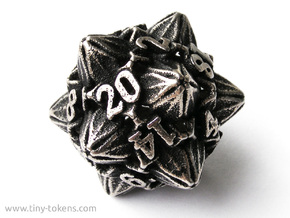 Floral Dice – D20 Gaming die in Polished Bronzed Silver Steel