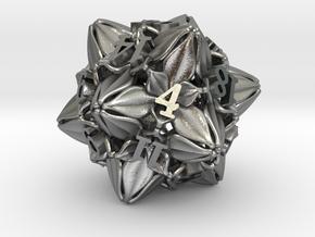 Floral Dice – D20 Gaming die in Natural Silver