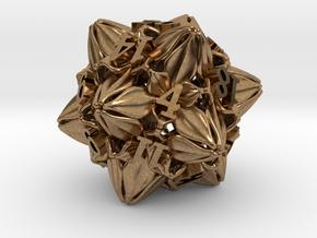 Floral Dice – D20 Gaming die in Natural Brass