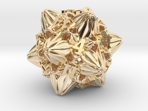 Floral Dice – D20 Gaming die in 14k Gold Plated Brass