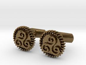 Triskelion Cufflinks in Natural Bronze