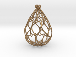 Filigree Drop Pendant in Natural Brass