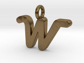 W - Pendant 2mm thk. in Natural Bronze