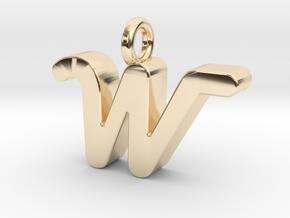 W - Pendant 3mm thk. in 14K Yellow Gold