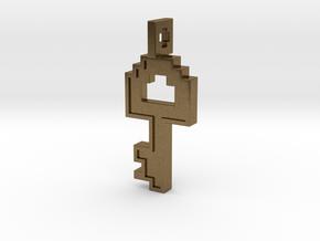 8-bit Key Pendant in Natural Bronze
