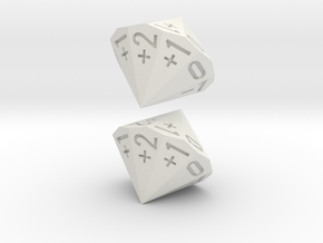 4-in-2 Fudge / Fate Dice (2d18 numbered as 4dF) in White Premium Strong & Flexible