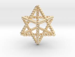 """Star Twistahedron 1.6"""" in 14K Yellow Gold"""