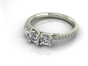 Classic 3 stone NO STONES SUPPLIED in Fine Detail Polished Silver