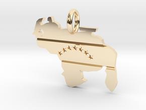 Venezuela Map - Pendant in 14k Gold Plated Brass