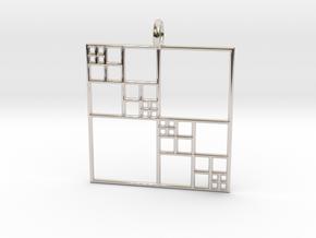 Fractal Squares - Pendant in Platinum