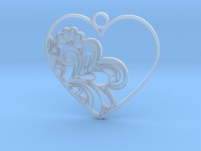 Heart Flower Pendant in Smooth Fine Detail Plastic