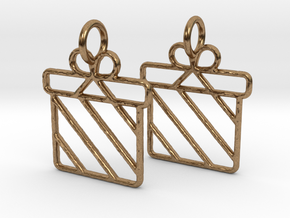 Christmas present earrings in Natural Brass