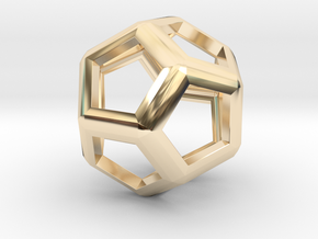 Dodecahedron in 14k Gold Plated Brass