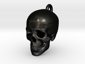 Skull Pendant in Matte Black Steel