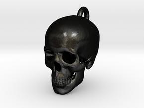 Skull Pendant in Matte Black Steel