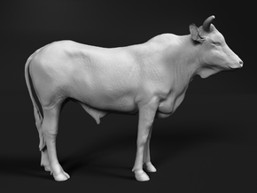 ABBI 1:12 Yearling Bull 1 in White Natural Versatile Plastic