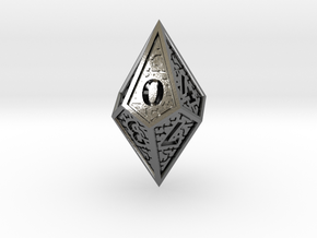 Hedron D10: Closed (Hollow), balanced gaming die in Polished Silver