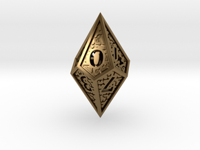 Hedron D10: Closed (Hollow), balanced gaming die in Polished Bronze