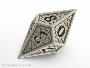 Hedron D10: Closed (Hollow), balanced gaming die in Polished Bronzed Silver Steel