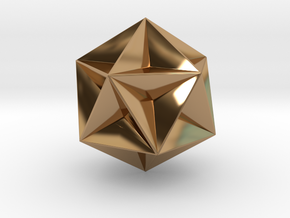 0415 Great Dodecahedron (F&full Color, 8cm) #001 in Polished Brass