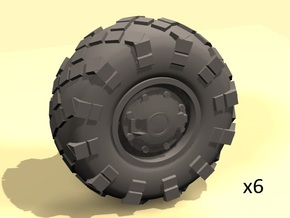 25mm diameter BTR-style wheels x6 in White Processed Versatile Plastic