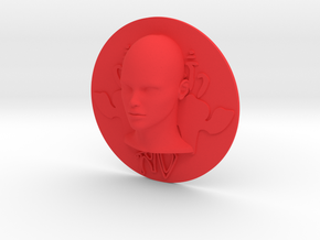 Art Nouveau - Round Disc 80mm (001) in Red Processed Versatile Plastic