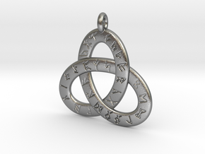 Saxon Rune Poem Triquetra 4.5cm in Natural Silver