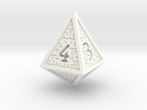 Hedron D4 (Solid), balanced gaming die in White Processed Versatile Plastic