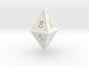 Hedron D8 Closed (Solid), balanced gaming die in White Processed Versatile Plastic