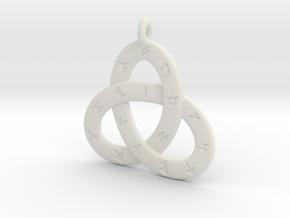 Norse/ Icelandic Rune Poem Triquetra 4.5cm in White Premium Versatile Plastic