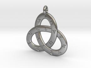 Norse/ Icelandic Rune Poem Triquetra 4.5cm in Natural Silver