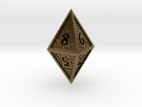 Hedron D8 Closed (Hollow), balanced gaming die in Polished Bronze