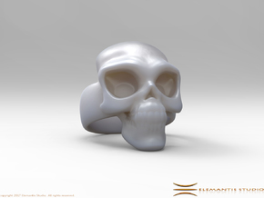 Skull Ring 'Sole'  in White Premium Versatile Plastic: 6 / 51.5