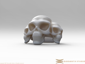 Skull Ring 'Trinity'  in White Premium Strong & Flexible: 6 / 51.5