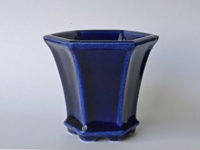 Hexagonal Bonsai-Style Shot Glass in Gloss Cobalt Blue Porcelain