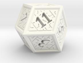 Hedron D12 (Solid), balanced gaming die in White Processed Versatile Plastic