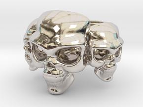 Skull Ring 'Trinity'  in Rhodium Plated Brass: 6 / 51.5